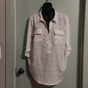 XL Kensie white pullover top with roll tab sleeves
